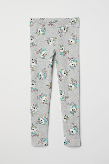Patterned jersey leggings - Light grey marl/Unicorns - Kids | H&M