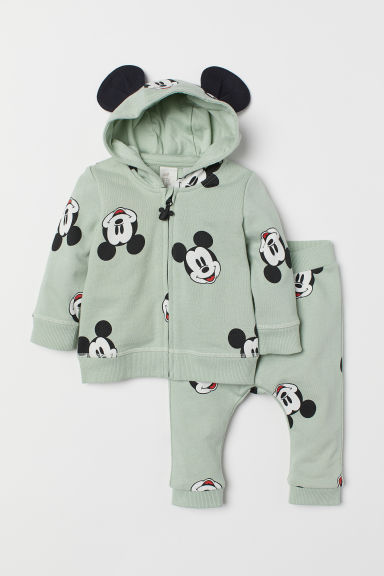 Hooded jacket and joggers - Mint green/Mickey Mouse - Kids | H&M CN