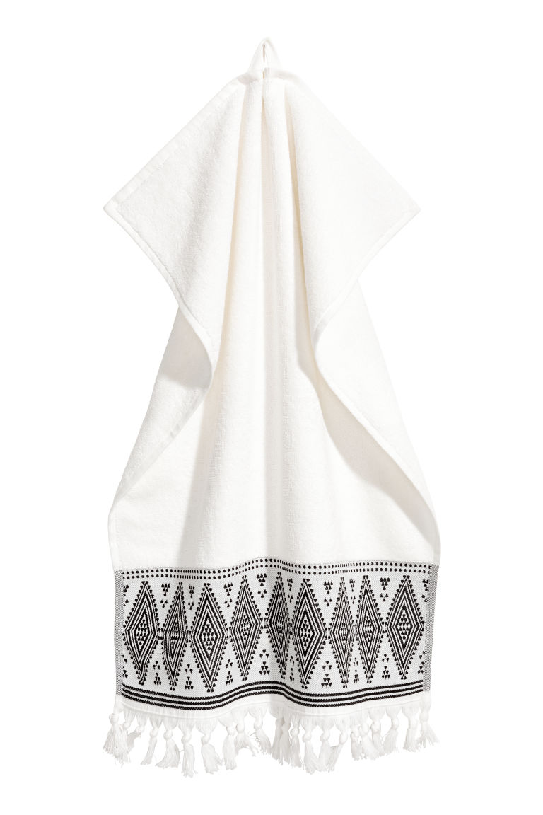 Hand towel with embroidery - White - Home All | H&M GB