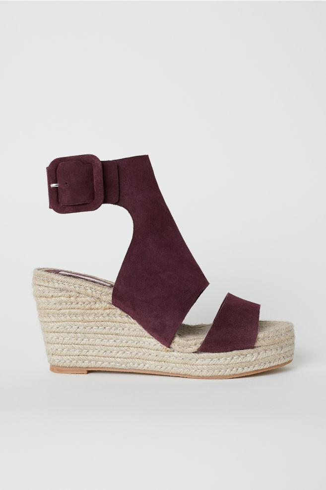 f92be6f607e Wedge-heel Sandals - Burgundy - Ladies