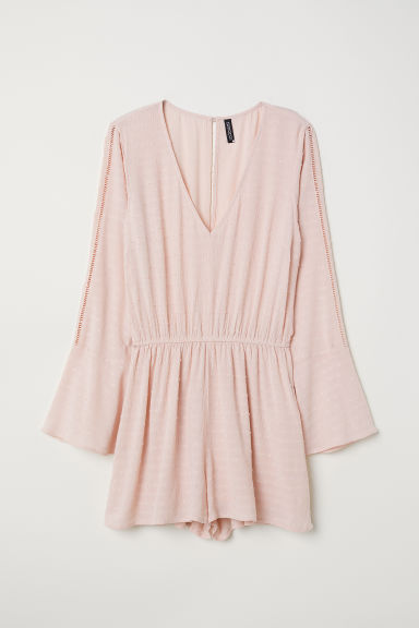 Plumeti chiffon playsuit - Light pink - Ladies | H&M CN