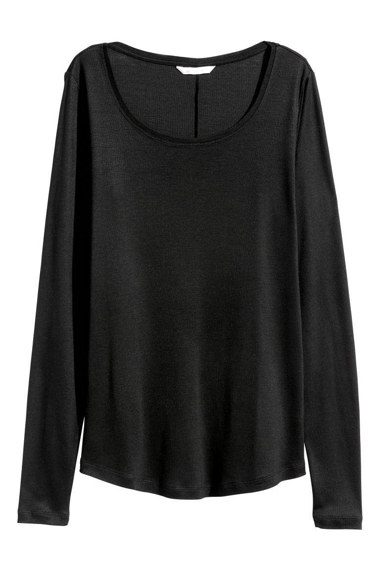 Long-sleeved top - Black - Ladies | H&M CN