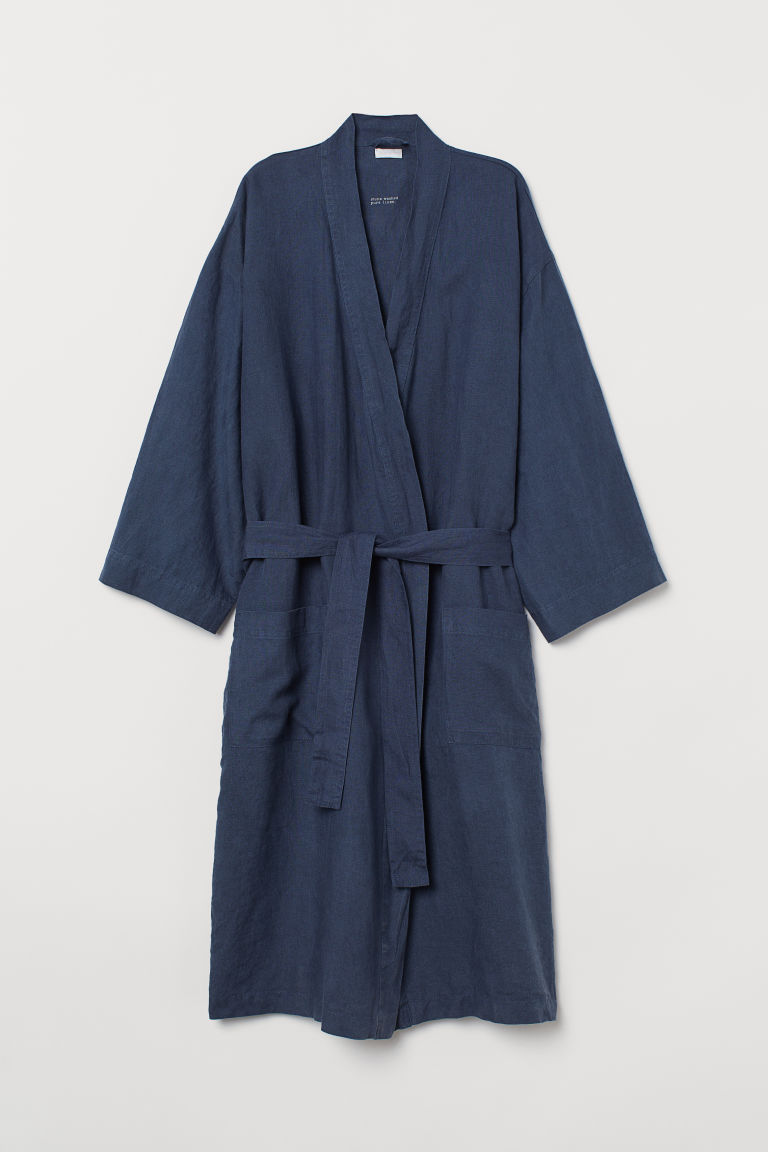 Washed linen dressing gown - Dark blue - Home All | H&M CN