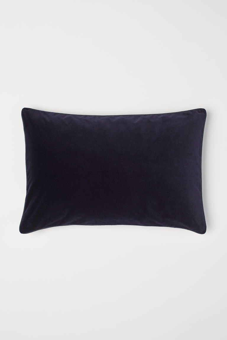 Cotton velvet cushion cover - Dark blue - Home All | H&M CN