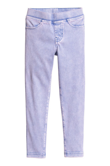 Denim-look treggings - Purple washed out -  | H&M CN