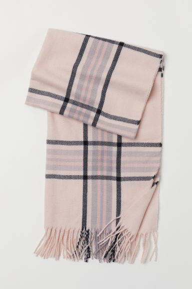 Woven scarf - Light pink/Checked -  | H&M CN