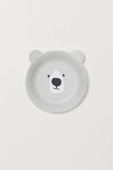 Berömda 10-pack papperstallrikar - Ljusgrå/Björn - Home All   H&M FI WI-37