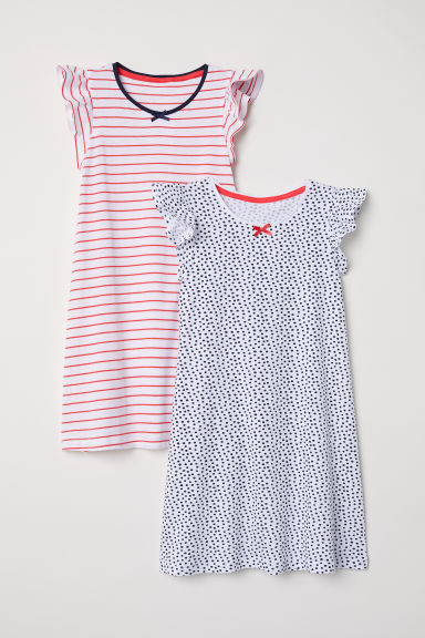 2-pack nightdresses - White/Patterned - Kids | H&M