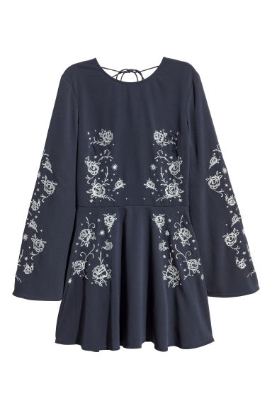 Embroidered dress - Dark blue/Roses - Ladies | H&M CN
