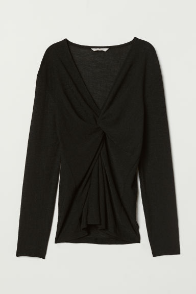 Top con nodo decorativo - Nero - DONNA | H&M IT