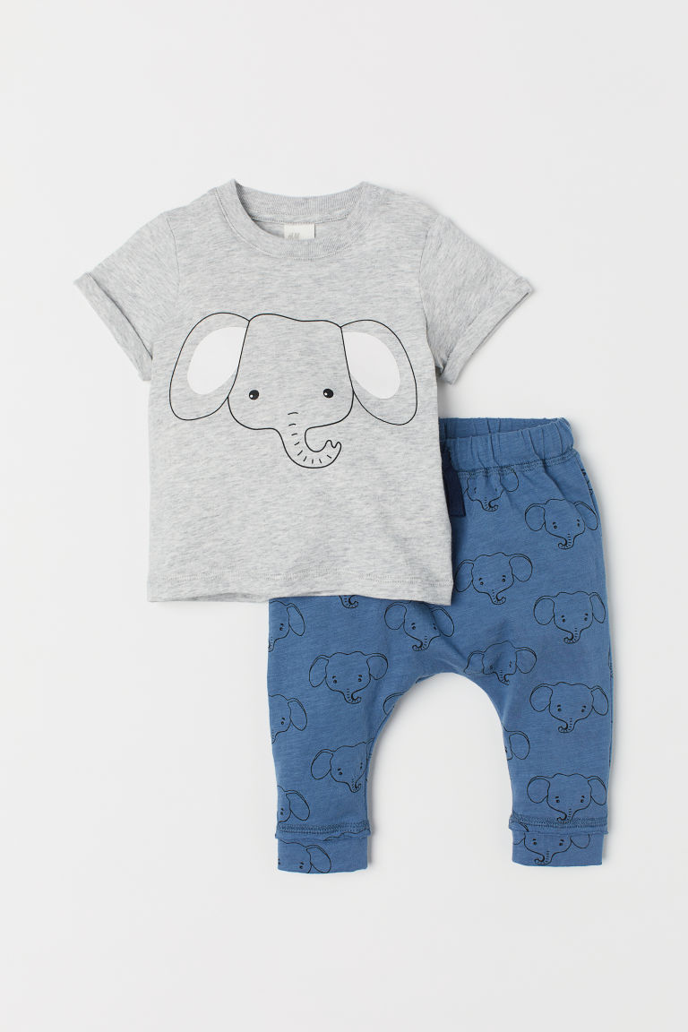 T-shirt and Pants - Light gray melange/elephant - Kids | H&M US
