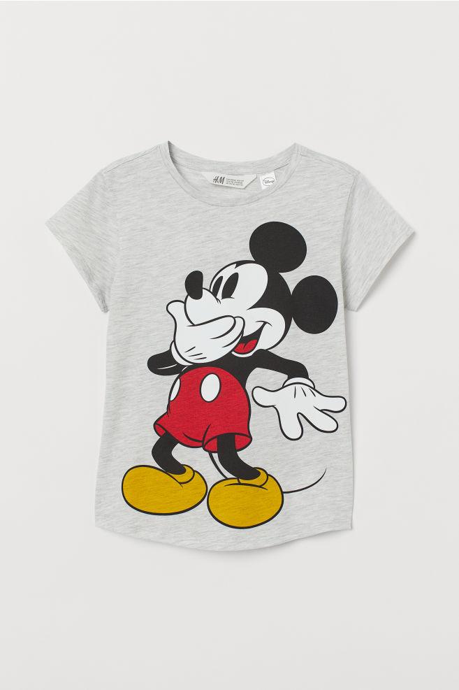 a58710f23e ... Nyomott mintás póló - Szürke melír/Mickey egér - GYEREK | H&M ...