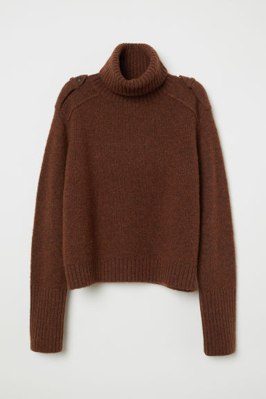 Wool-blend polo-neck jumper - Dark brown marl -  | H&M