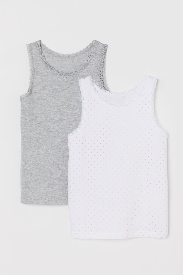 2-pack, lace-trimmed vest tops - White/Grey marl - Kids | H&M