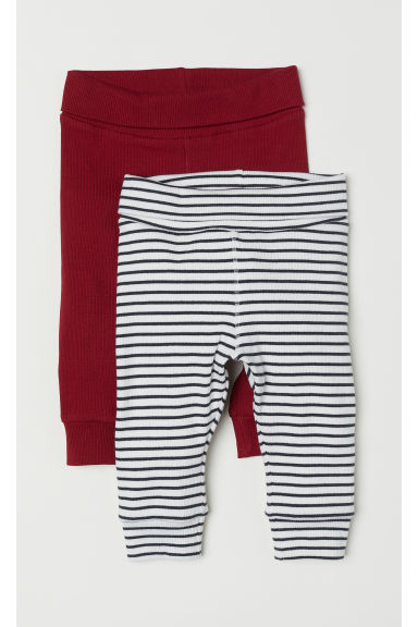 2-pack ribbed leggings - Burgundy/Striped - Kids | H&M