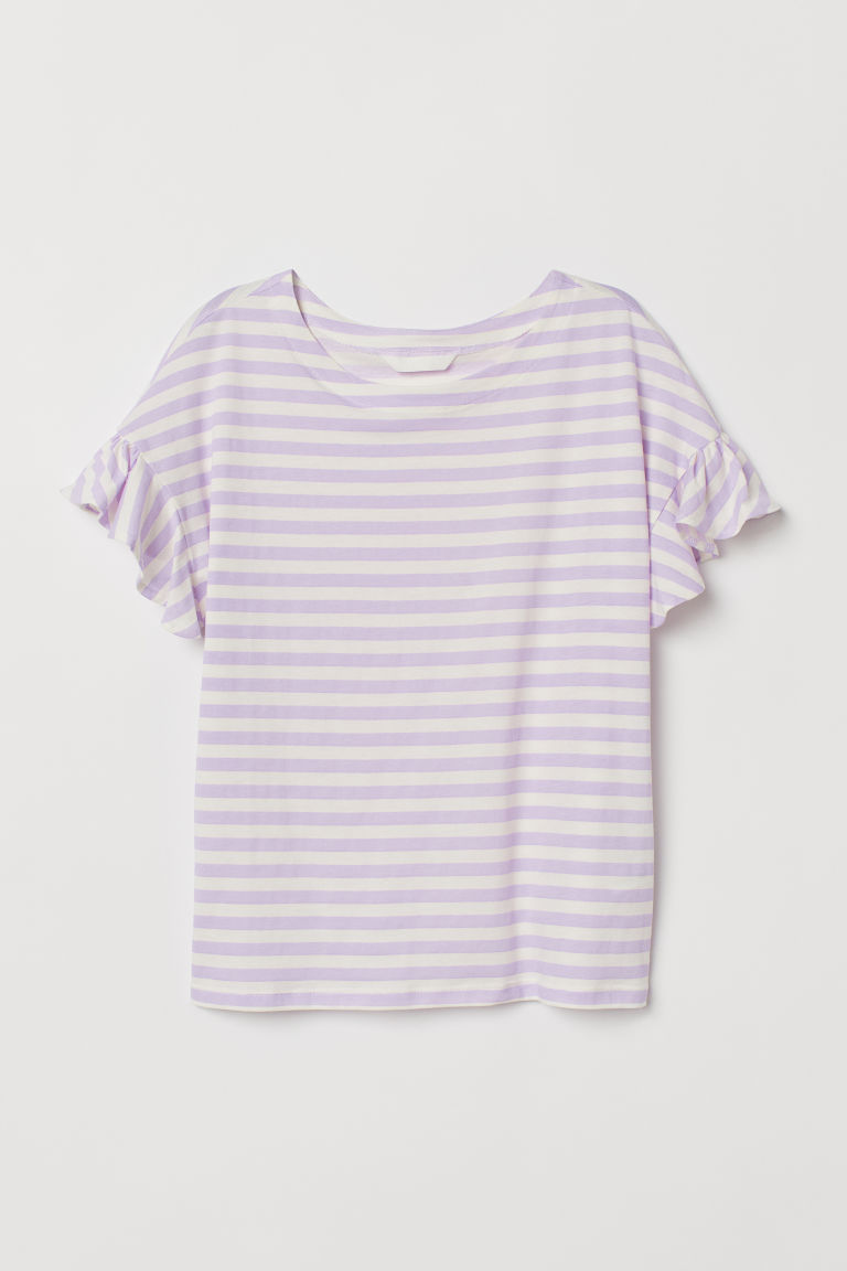 Flounce-sleeved top - White/Purple striped - Ladies | H&M CN