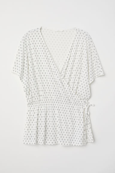Top incrociato in jersey - Bianco/fantasia - DONNA | H&M IT