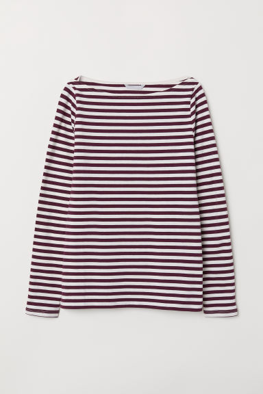 Pima cotton jersey top - Burgundy/Striped - Ladies | H&M