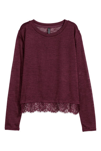 Fine-knit lace-trimmed jumper - Burgundy - Ladies | H&M