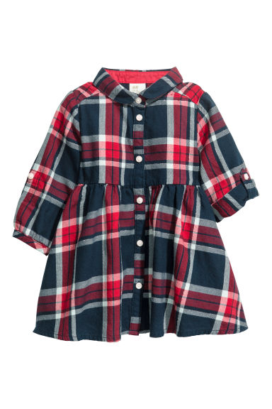 Checked flannel dress - Red - Kids | H&M CN