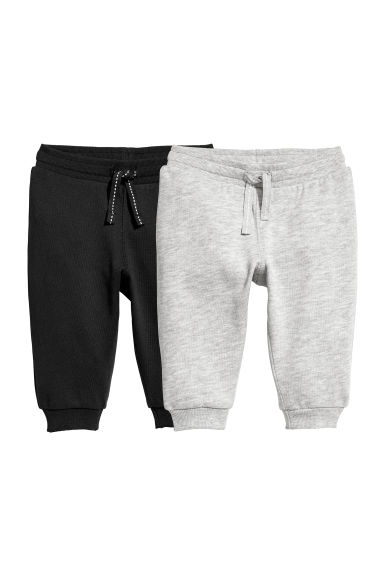 2-pack cotton joggers - Black/Grey marl - Kids | H&M IN