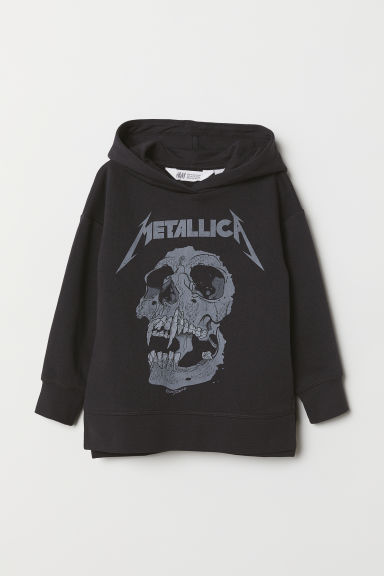 Printed hooded top - Dark grey/Metallica - Kids | H&M