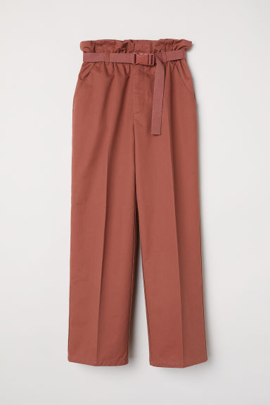 Paper bag trousers - Rust brown - Ladies | H&M CN