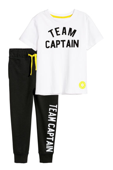 T恤和慢跑裤 - 白色/Team Captain - Kids | H&M CN