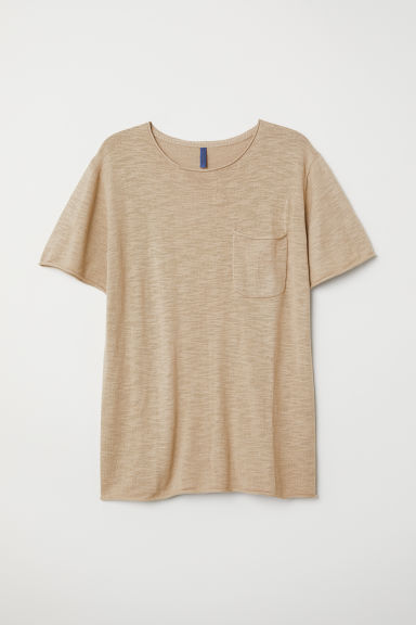 Fine-knit cotton T-shirt - Beige - Men | H&M