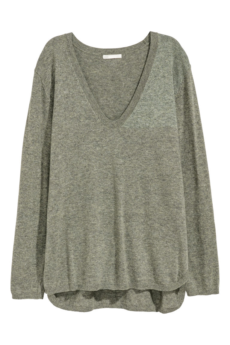 Knitted jumper - Khaki green - Ladies | H&M IE