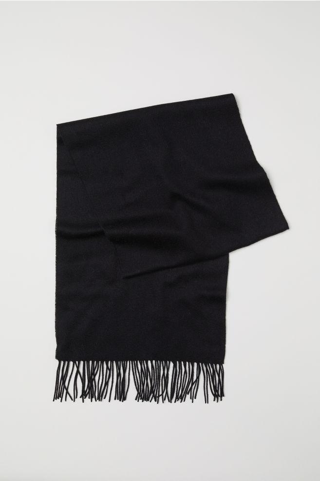 c10833d6e1e01 Cashmere-blend scarf - Black - Ladies | H&M ...