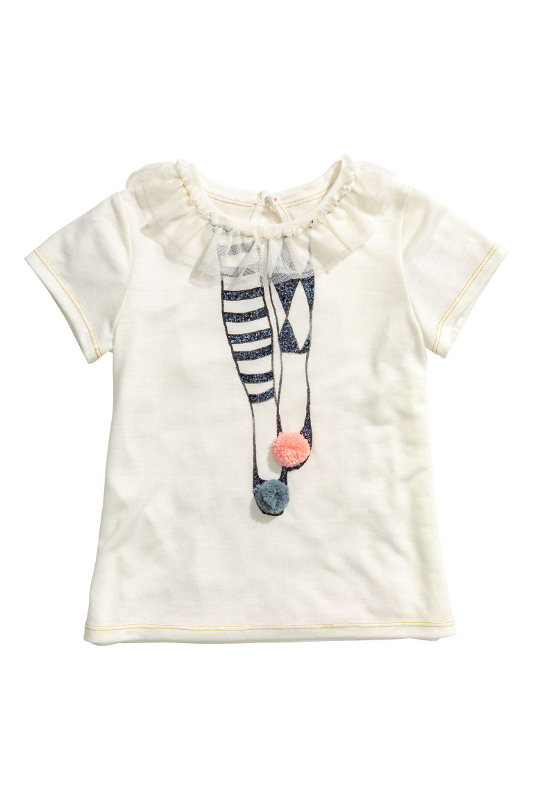Short-sleeved jersey top - Natural white/Frill - Kids | H&M