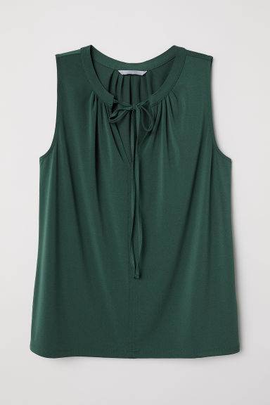 Jersey blouse with a tie - Dark green - Ladies | H&M CN