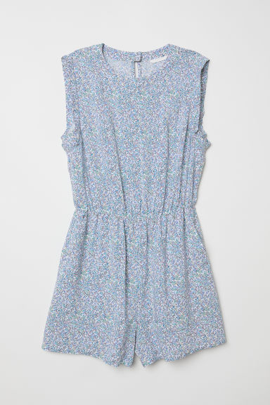 Sleeveless playsuit - White/Small flowers - Ladies | H&M