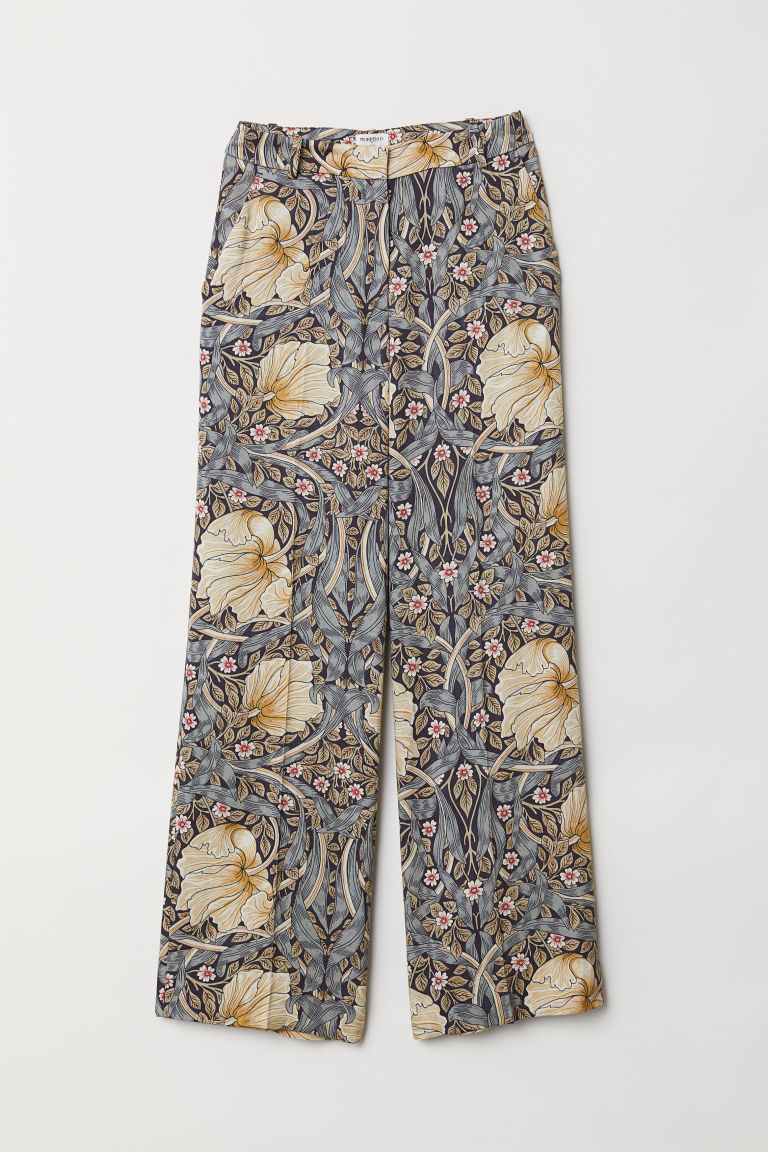 Wide trousers - Blue/Flowers - Ladies | H&M