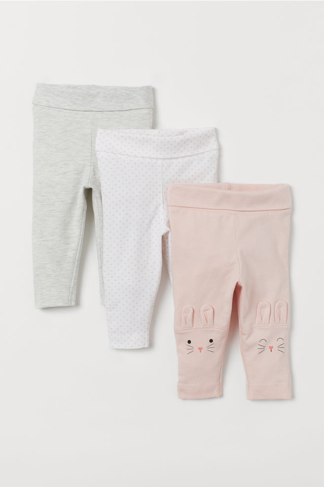 35954af72933be 3-pack Leggings - Light pink/rabbits - Kids | H&M ...
