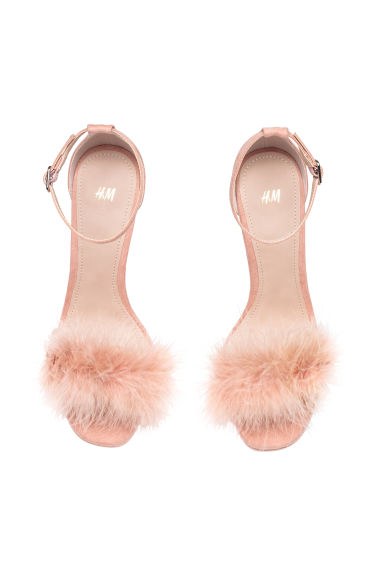 Sandals with feathers - Pink - Ladies | H&M CN