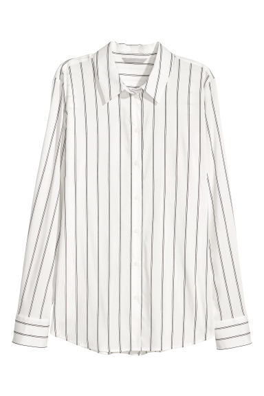 Long-sleeved shirt - White/Striped - Ladies | H&M