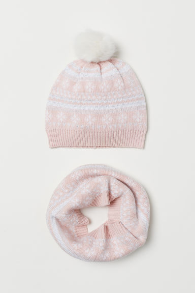 Hat and tube scarf - Powder pink/Glittery - Kids | H&M CN