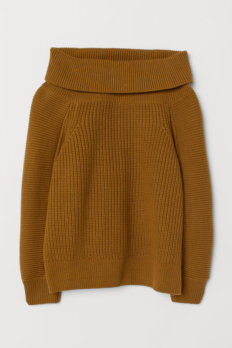 Off-the-shoulder Sweater - Brown - Ladies | H&M US