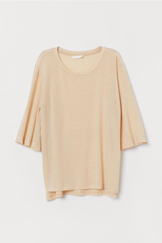 0fc795f4 ... Lyocell-blend Top - Light beige - Ladies | H&M ...