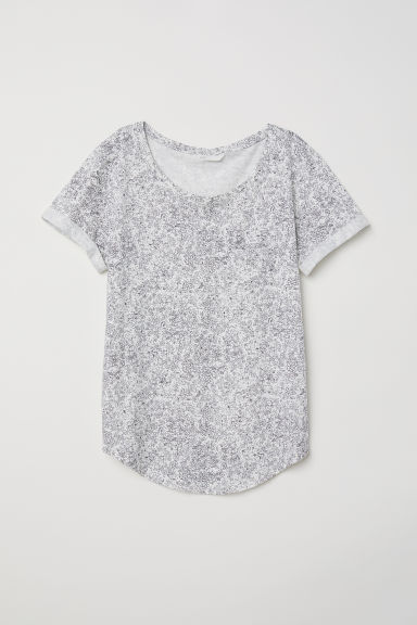 Slub jersey T-shirt - White/Floral - Ladies | H&M