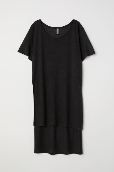 T-shirt lunga in misto lino - Nero -  | H&M IT