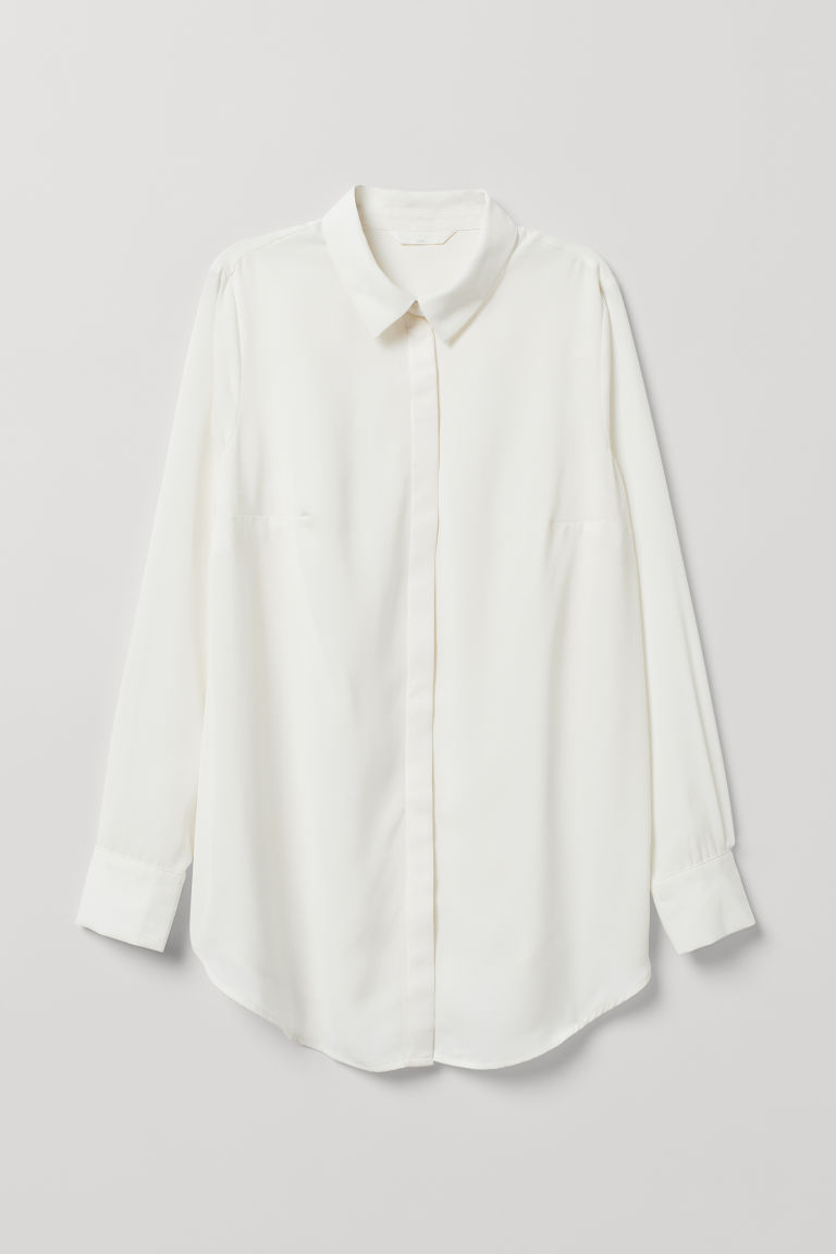 MAMA Long-sleeved blouse - Cream - Ladies | H&M CN