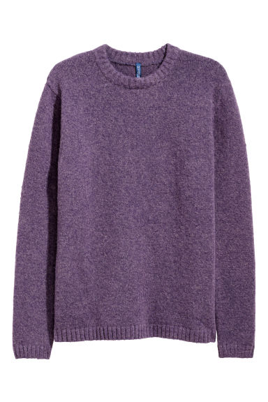 Rib-knit jumper - Dark purple -  | H&M CN
