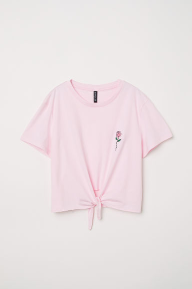 T-shirt with a tie - Light pink/Rose -  | H&M