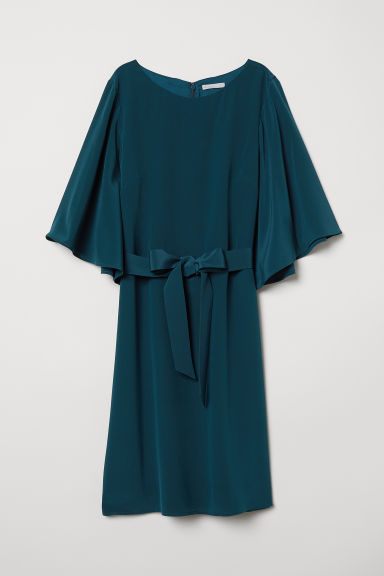 Silk dress - Dark petrol - Ladies | H&M CN