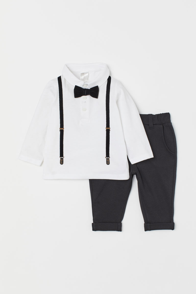 Top y pantalón - Negro/Blanco - Kids | H&M US