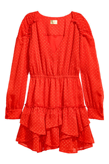 Short chiffon dress - Bright red - Ladies | H&M