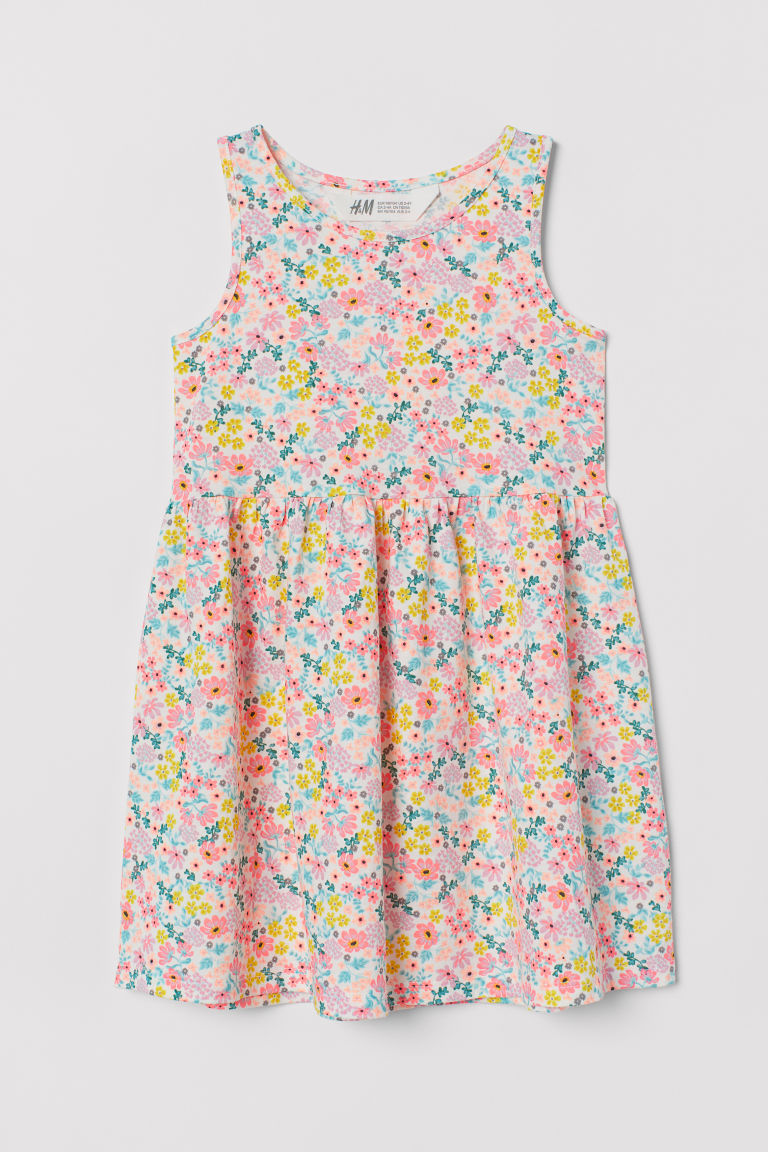Vestido de punto estampado - Blanco/Floreado - Kids | H&M MX